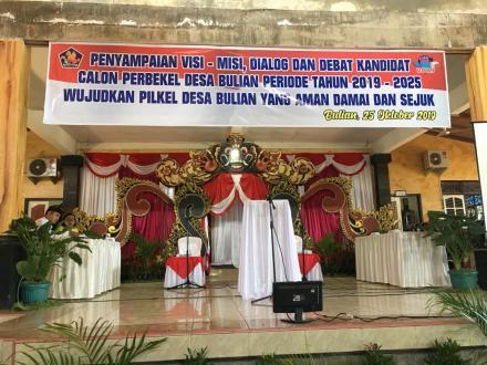 Penyampaian Visi - Misi, Dialog dan Debat Kandidat Calon Perbekel Desa Bulian Periode Tahun 2019 - 2